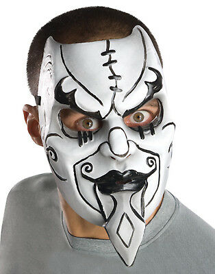 Scary Creepy Black White Venetian Harlequin Jester Tragedy Halloween Mask Mens (Black And White Venetian Mask)