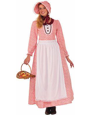 Pink Pioneer Prairie Colonial Frontier Bonnet Dress Costume-Std