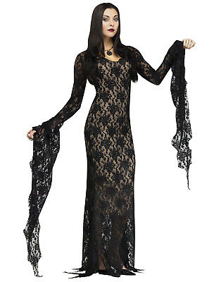 Addams Family Morticia Addams Miss Darkness Vampire Witch Halloween Costume - Morticia Costumes
