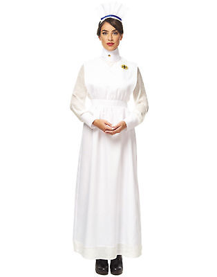 ADULT WOMENS WAR TIME HOSPITAL VINTAGE NURSE DOCTOR COSTUME WHITE HAT APRON - Doctor Nurse Costumes