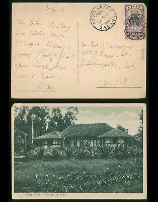 Ethiopia 1944 Addis Ababa Censored WWII Postcard to Indianapolis USA