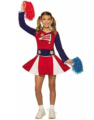 Cheerleader Girls Child Sport Red White Blue Halloween Costume - Sports Costumes For Girls