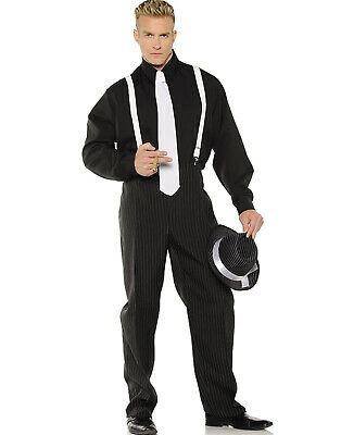 1920'S Black Pinstripe Gangster Mobster Mens Halloween Costume - 1920 Gangsters Costume