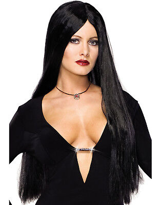 Addams Family Morticia Long Black Goth Vampire Witch Wig