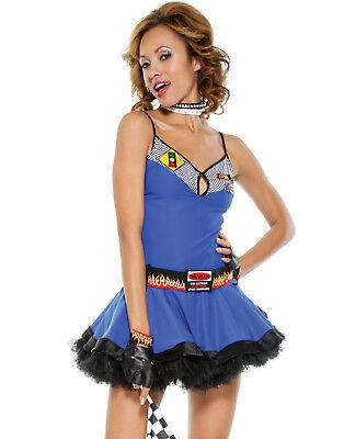 Fast Lane Speed Racer Blue Cheerleader Sexy Tutu Mini Dress Womens Costume L/Xl