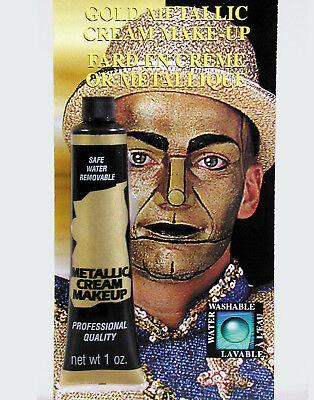 Shiny Gold Metallic Foundation Cream Face/Body Halloween Costume Makeup - Halloween Face Makeups