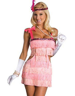 Sexy Pink 20'S Fashion Flapper Showgirl Womens Halloween Adult Costume