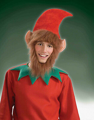 Holiday Christmas Elf Hat With Ears Hair And Beard Adult
