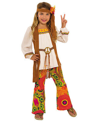 Flower Child Halloween Costumes (Flower Child Girls Hippie 1960'S Peace Decades Halloween)