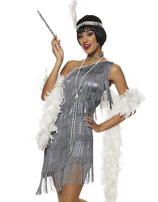 Tolle Flapper Silber Great Gatsby 6.1mS Ausgefallen, für Damen Halloween Kostüm