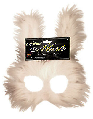 Bunny Adult Furry Rabbit Animal White Half Face Costume Mask - Rabbit Half Mask