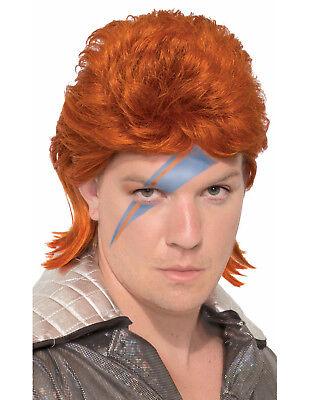 Orange Rock Star Herren Erwachsene David Bowie Kostüm Perücke Zubehör