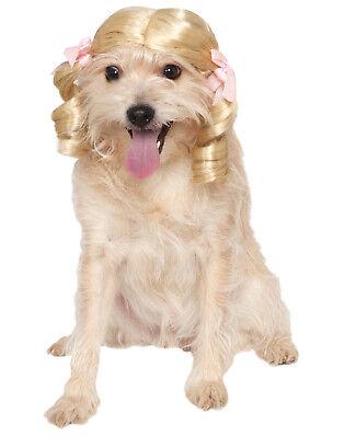 Cheerleader Blond Zopf Pink Band Haustier Hund Katze Kostüm Perücke
