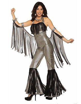 Disco Queen Halloween (Disco Queen Silver Jumpsuit Womens Adult 80S Diva Halloween)