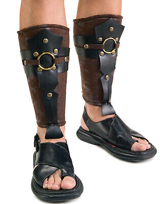 Mens Greek Halloween Costumes (Roman Greek Gladiator Leg Guards Armor Medieval Mens Halloween Costume One)