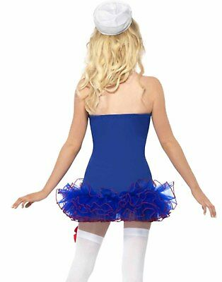 Pin-Up Mädchen Sexy Matrose Mama Damen Blau Tutu Kleid Halloween Kostüm Hut