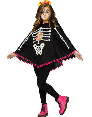 Day Of The Dead Girls Childs Halloween Costume Skeleton Poncho