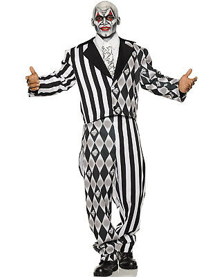 The Jester Mens Two Toned Black White Clown Tuxedo Halloween Costume
