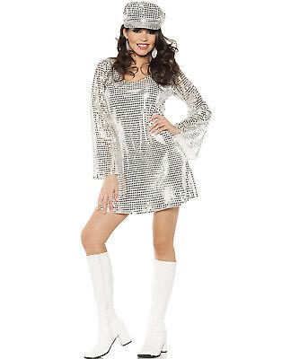 Shimmer Silver Metallic Womens 1970'S Disco Outfit Halloween - Halloween 1970's Kostüm