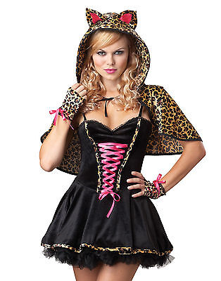 FRISKY KITTY Cat Woman Leopard Shrug Hooded Cape Ears Tail Gloves Corset Dress S