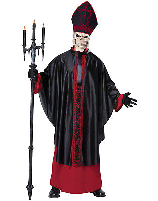 Undead Evil Zombie Skull Priest Adult Gothic Horror Halloween Costume](Evil Priest Halloween Costume)