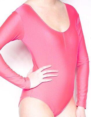 Hot Pink Long Sleeve Leotard Shiny Spandex Dancewear Super Hero Bodysuit](Hot Pink Costumes)