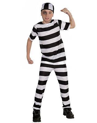 Child Black White Convict Prisoner Inmate Jailbird Boys Costume - Boys Convict Costume