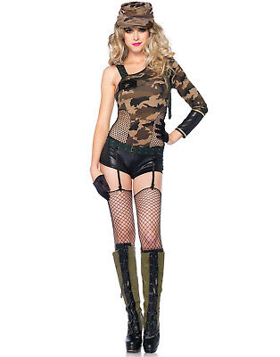 Sexy Military Army Camo Girl One Shoulder Bodysuit - Sexy Military Girl Kostüme