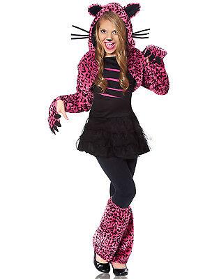 Bad Kitty Girls Child Pink Leopard Print Animal Halloween Costume