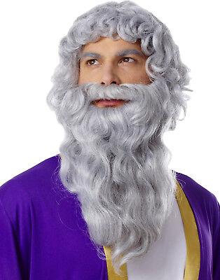 Biblisch Lang Grau Griechisch Römisch Moses Zeus Bart Perücke Kostüm Set
