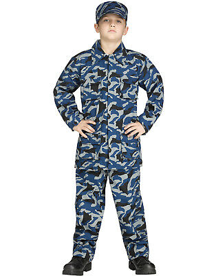 Navy Costumes For Boys (Blue Camouflage Uniform Boys Navy Soldier Cammies Halloween)
