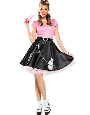50'S Sweetheart Womens Grease Black Poodle Skirt Hop Outfit Halloween Costume-M - Grease Outfit