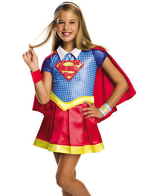 Girls Dc Deluxe Supergirl Superhero School Girl Halloween Child Costume