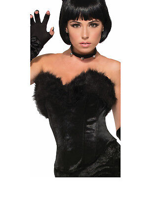 Black Cat Kitty Womens Adult Animal Costume Accessory Black Fur Top Corset-Std