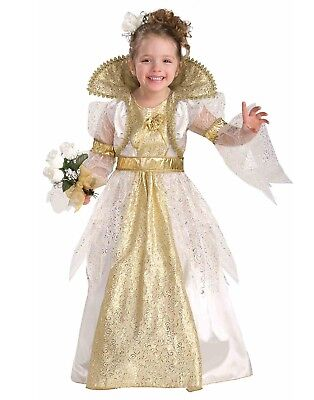 Royal Bride Gold Renaissance Gown Queen Girls Halloween - Girls Bride Costume