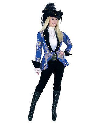 Blue Black Elegant Pirate Ship Lady Captain Womens Adult Costume - Elegant Pirate Lady Costume