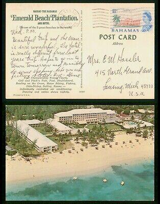 Mayfairstamps Bahamas 1969 Emerald Beach Plantation to Lansing MI Hotel Postcard