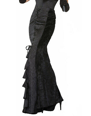 Long Black Gothic Steampunk Victorian Witches Skirt Costume Accessory