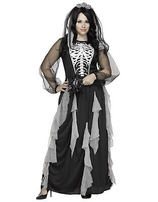 Skeleton Bride Womens Plus Size Corpse Bride Halloween Costume Gown - Plus Size Womens Skeleton Costume