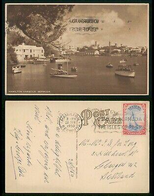 Bermuda Hamilton Harbor 1950 Real Photo Postcard to Scotland