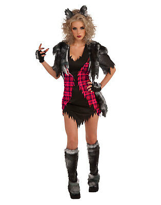 Sexy Adult Animal She Wolf Werewolf Gothic Womens Halloween Costume Set ()