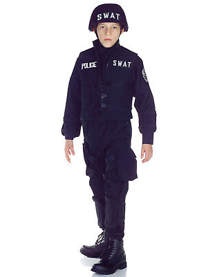 Swat Team Boys Child Police Force Black Halloween - Swat Team Halloween