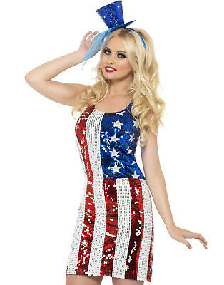Sexy American Flag July 4Th Usa Patriot Dress Halloween Costume Womens L
