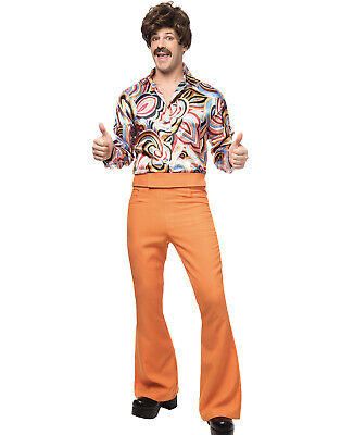 600mS Disco Dude HERREN Rostbraun Orange Retro Groovy Halloween - Disco Dude Kostüm