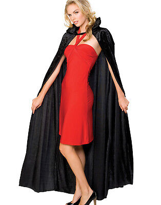 Crushed Velvet Long Vampire Black Cape With Collar Halloween Accessory