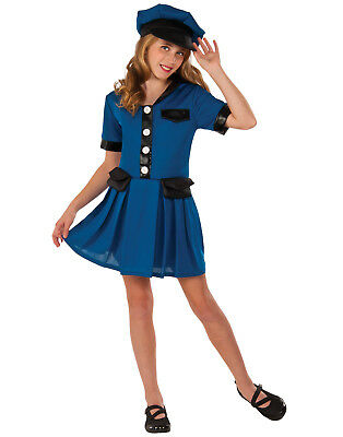 Lady Cop Girl Child Police Officer Blue Uniform Halloween Costume