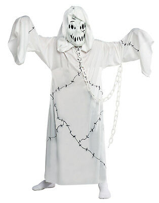 Kids White Cool Ghoul Scary Hooded Reaper Ghost Costume