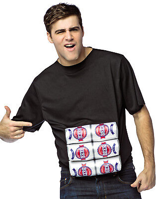 Six Pack Halloween Costume (Six Pack Of Beer Adult Funny Halloween Shirt Costume-One)