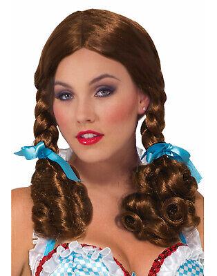 Farm Mädchen Damen Erwachsenen Zauberer von oz Braun Geflochten Dorothy - Farm Mädchen Kostüm