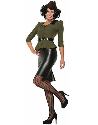 Army Pinup Costume (Missile Millie Military Army Wartime Officer Pin Up Uniform)